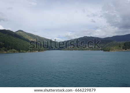 Boat trip with the Cook Strait Ferry from Wellington to Picton, New Zealand #666229879
