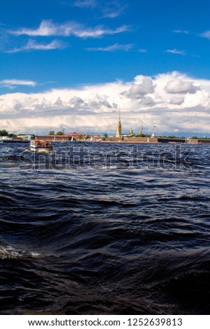 Boat trips on the Neva River. Lenny warm day. Sights of St. Petersburg. Stock fotó ©