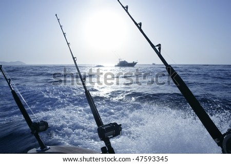 Boat trolling fishing on Mediterranean Ibiza Balearic Islands