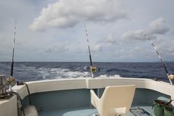 Boat trolling fishing on Okinawa Islands, Japan