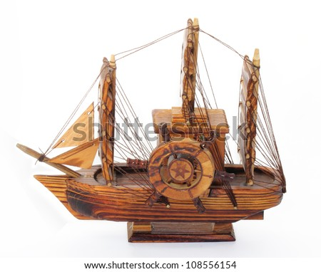 Boat wood musical box on white background.