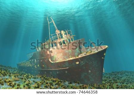 Boat wreck illustration image 3D - stock photo