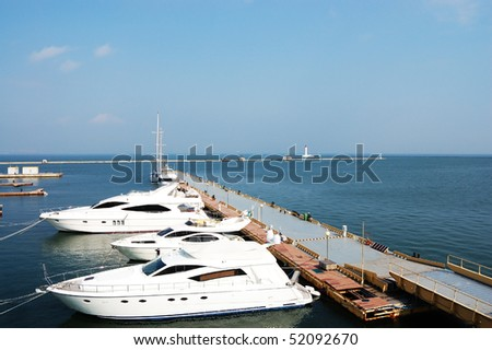 Boat yachts on the quay in the port of Odessa. (Ukraine)