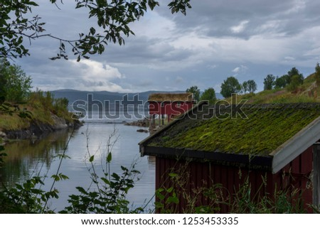 Boathouse in a little bay with calm water with moss on the roof in foreground and a red boathouse in background, picture from the Northern Norway.   #1253453335