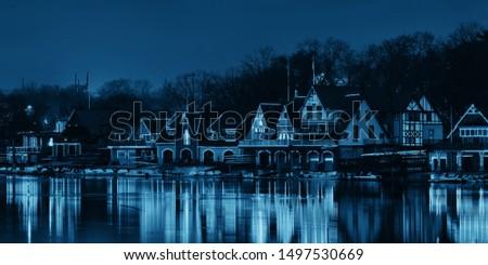Boathouse Row in Philadelphia as the famous historical landmark. #1497530669