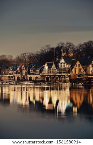 Boathouse Row in Philadelphia as the famous historical landmark. #1561580914