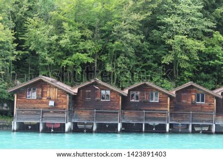 Boathouses on Lake Brienz, Switzerland