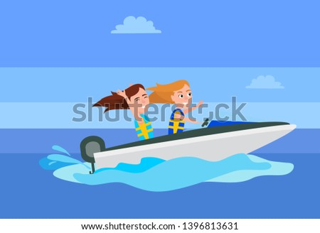 Boating activity girls having fun while riding boat blue water of sea summer sport activities raster illustration