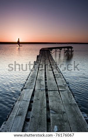 Boating Lake Jetty with warm sunset