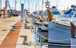 Boats anchoring at the marina of Porto Colom, Spain Majorca, Mediterranean Sea.