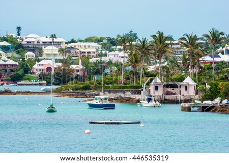 Boats and colorful architecture along the shoreline in Hamilton Bermuda. Сток-фото ©
