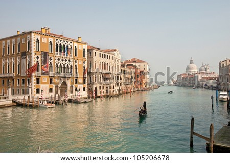 Boats and gondolas on the Grand Canal of Venice, Italy