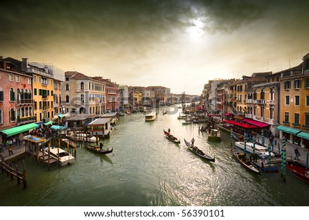 Stock Photo Boats and gondolas on the Grand Canal of Venice, Italy.