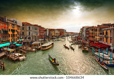 Boats and gondolas on the Grand Canal of Venice,. View from Bridge Rialto. ストックフォト ©