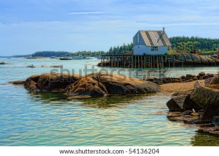 Boats and warehouse on a dock in the stonington maine for Maine out of state fishing license