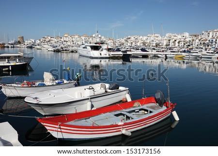 Boats and yachts in Puerto Banus, marina of Marbella, Spain