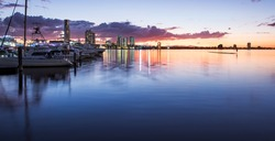 Boats and Yachts Reflecting in the Water and Overlooking Southport During a Beautiful Sunset, Main Beach, Gold Coast, Queensland, Australia