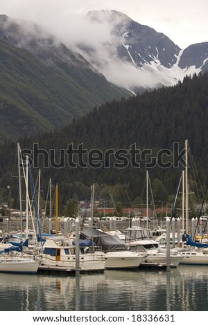 Boats are docked in Alaska's Seward Harbor