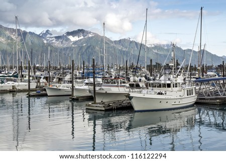 Boats at a pier in Seward ,Alaska