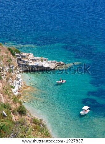 Boats at bay on Corfu island, Greece