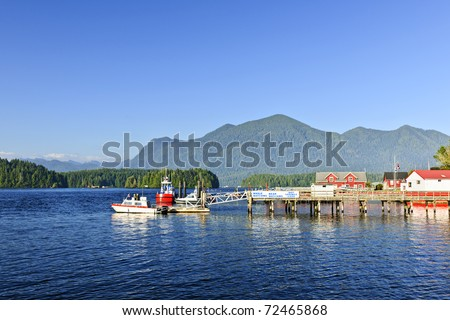 Boats at dock in Tofino on Pacific coast of British Columbia, Canada