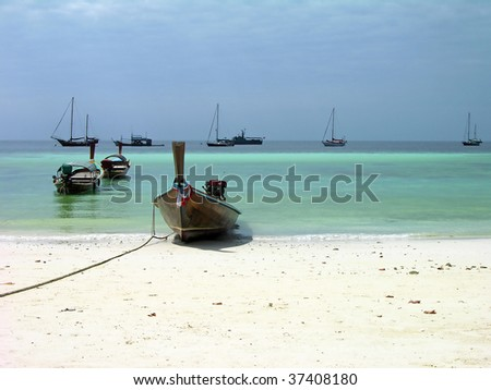 Boats at Pattaya beach on Lipe island, Andaman sea, Thailand