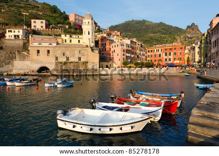 Boats at the harbor on the village of Vernazza in Cinque Terre, Italy