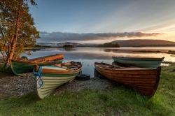 Boats at the Lough Corrib, County Galway, Connemara, Ireland