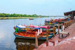 Boats at the Vishram Ghat of Yamuna river in Mathura city in India