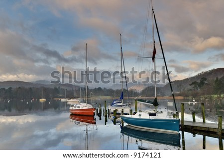 Boats at Waterhead, Ambleside  in early morning light