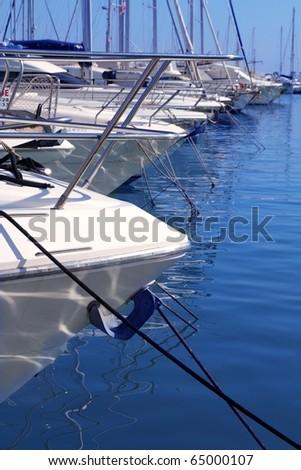 Boats bow in marina Mediterranean sea bow detail harbor
