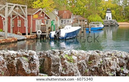 Boats docked in harbor of northeastern fishing town
