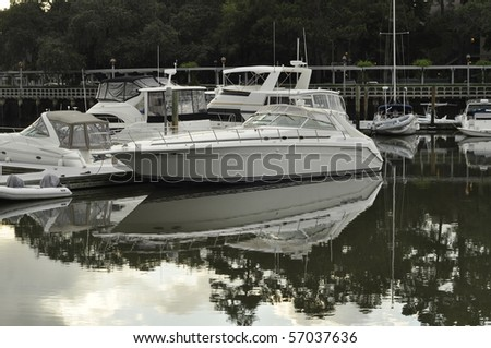 Boats docked in Shelter Cove Marina on Hilton Head Island, South Carolina.