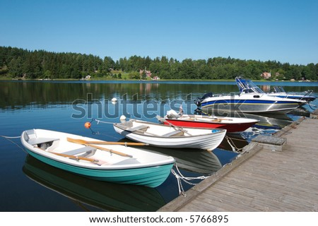 Boats docked in the swedish skargarden during daytime