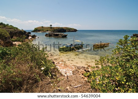 Boats Docked on an Island - stock photo