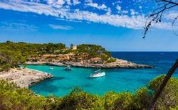 Boats in a beautiful bay, Majorca Island, Spain.