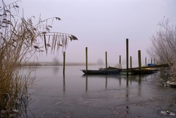 Boats in a frozen and misty creek in the Biesbosch National Park near the Dutch village Hank