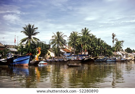 Boats in a harbor in the Mekong delta, Vietnam