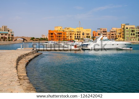 Boats in Abu Tig Marina. El Gouna, Red Sea, Egypt, North Africa