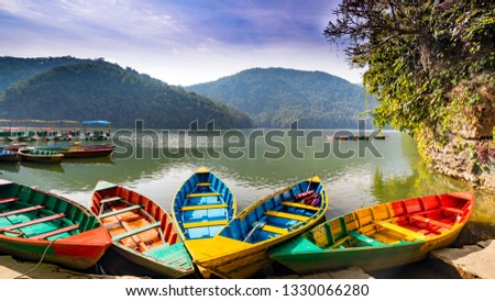 Boats in Fava Lake Pokhara Nepal. Famous Tourist Place in Nepal