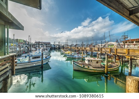 Boats in Fisherman's wharf in San Francisco. California, USA Stockfoto ©