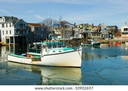 Boats in fishermen village of Rockport on Atlantic coast of Massachussets