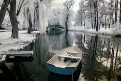 Boats in Greater Poland, Poland. The infrared image