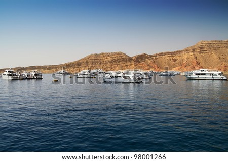 Boats in harbor of Red Sea, Sharm el Sheikh, Egypt