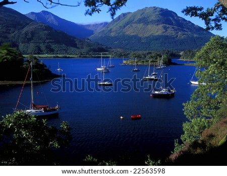 Boats in Loch Leven scotland