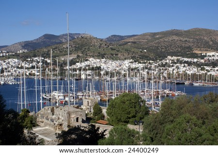 Boats in marina and St Peter's castle in Bodrum, Turkey