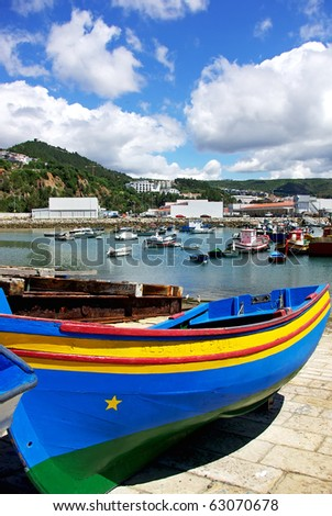 Boats in Port of Sesimbra.