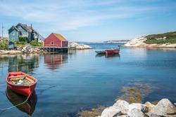 Boats in the Atlantic Ocean, on the east coast of Canada. Peggy's Cove, Nova Scotia.