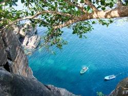 Boats in the beautiful ocean Trincomalee, Sri Lanka