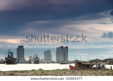 Boats in the Chao Phraya River
